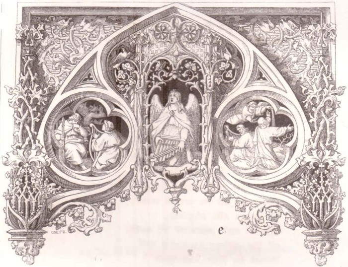 "A hand drawing by Gustav Koenig for the article by Martin Luther entitled ""Mrs. Music,"" from the German book, ""Martin Luthers Geistliche Lieder (Samuel Gottlieb Liesching: Stuttgart, 1848), seite iii. The scene on the left depicts 1st Samuel 16:23; the scene on the right: 2nd Kings 3:15. Koenig's monogram consisting of the initials ""G"" and ""K"" will be seen hanging like an ornament from the bottom-most part of the center of his etching."
