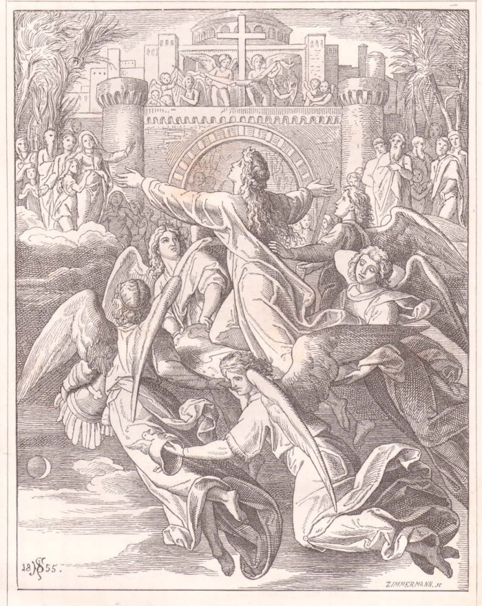 "A woodcut by Julius Schnorr von Carolsfeld for the German book, ""Christenfreude in Lied und Bild"" (Gaber & Richter: Dresden, 1855). It depicts the angels carrying a soul to the New Jerusalem above. Note the imagery from Ephesians chapter 6! The angels are bearing this soul to heaven on the shield of faith, while others carry either the helmet of salvation, the chest armor of righteousness, or the sword of the Spirit. Once again, von Carolsfeld employs excellent imagery."